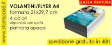 Volantini Flyer A4  21x29,7cm bassa tiratura