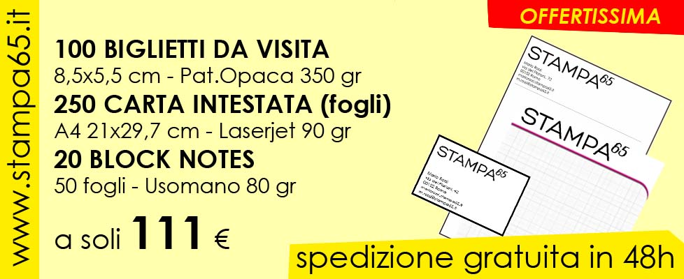 100 bigliettini da visita + 20 block notes + 250 carta intestata