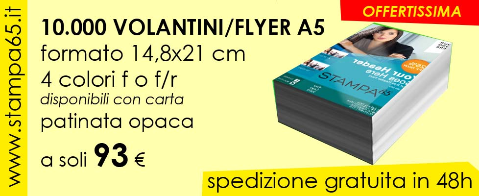 10000 Volantini A5 14,8x21 cm
